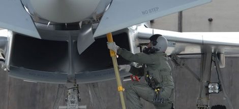 Eurofighter pilot entering cockpit