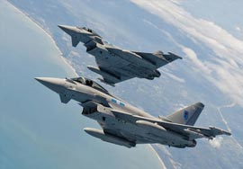 RAF 6 Squadron Eurofighter Typhoons on Exercise Bersama Lima 11