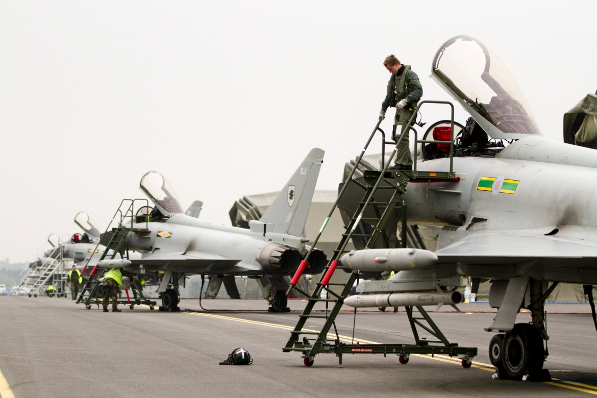 Four Royal Air Force Typhoon aircraft arrive at RAF Northolt from RAF Coningsby ahead of a nine day exercise in preperation for Olympic air security.   RAF NORTHOLT HOSTS TYPHOON FIGHTERS AS MILITARY EXERCISE TO PREPARE FOR OLYMPICS GETS UNDER WAY   Typho
