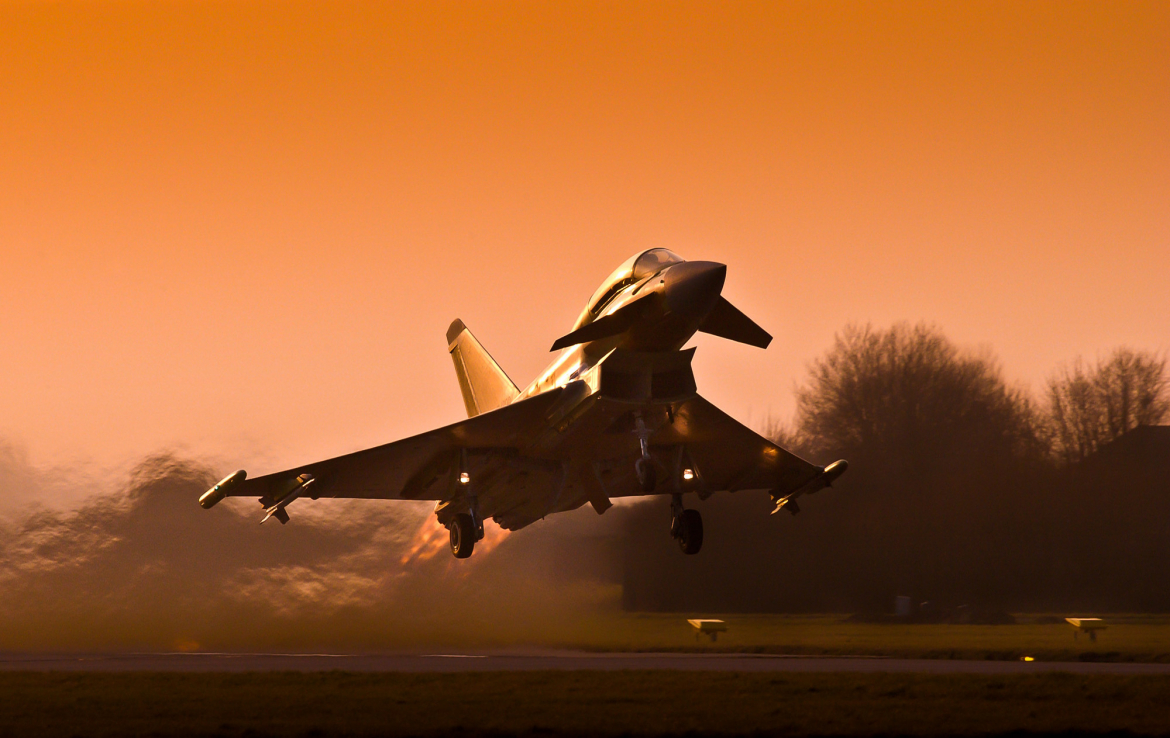 The Eurofighter Typhoon takes to the skies