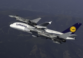 Airbus A 380 and  Austrian Eurofighter- action