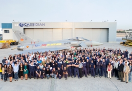 Cassidian Spain employees with the 300th aircraft