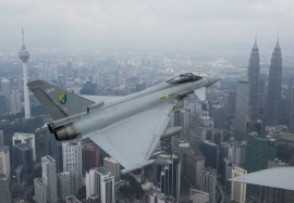 RAF 3 (F) Squadron Eurofighter Typhoon over the Petronas towers