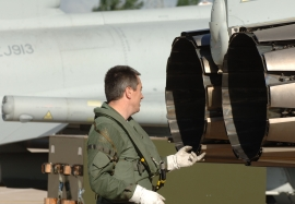 RAF pilot checks EJ200 engines