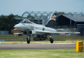 Royal Air Force Eurofighter Typhoon Display Pilot - Flt Lt Noel Rees on the runway at Farnborough Air Show 2014