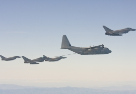 Italian Air Force Eurofighter in air-to-air refuelling mission