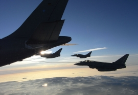GAF Eurofighter\'s of JG-73 air-air refuelling with a A-310 MRTT