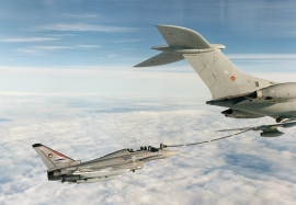 BAE SYSTEMS DA4 with drop tanks air to air refuelling with a VC1
