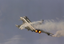 EADS D DA1 taking with afterburner and smoke pods on from Farnbo